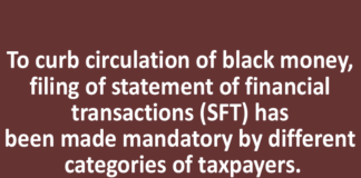 To curb circulation of black money, filing of statement of financial transactions (SFT) has been made mandatory by different categories of taxpayers.
