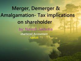 Merger, Demerger & Amalgamation- Tax implications on shareholder