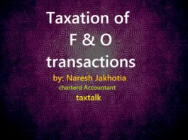 Taxation of F & O transactions
