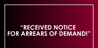 RECEIVED NOTICE FOR ARREARS OF DEMAND!