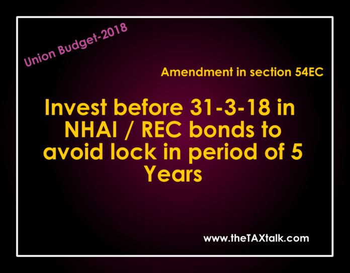 Invest in NHAI / REC bonds to avoid lock in period of 5 Years