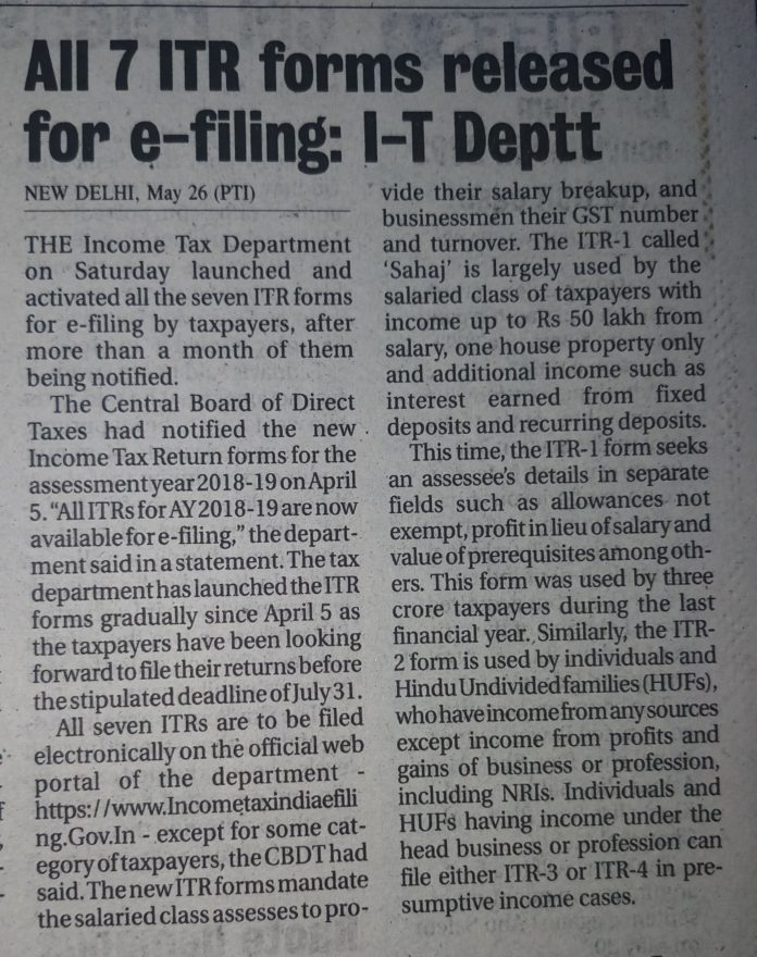 With almost 2 months of delay, All ITR forms are now available for filing