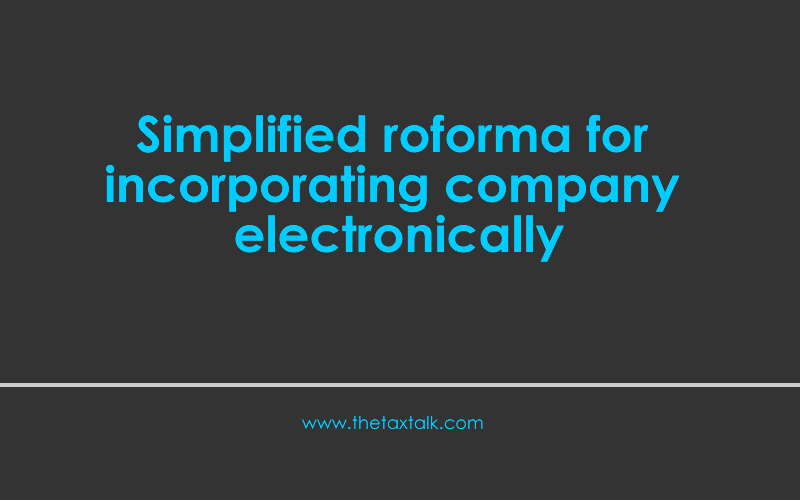 Simplified Proforma for Incorporating Company Electronically
