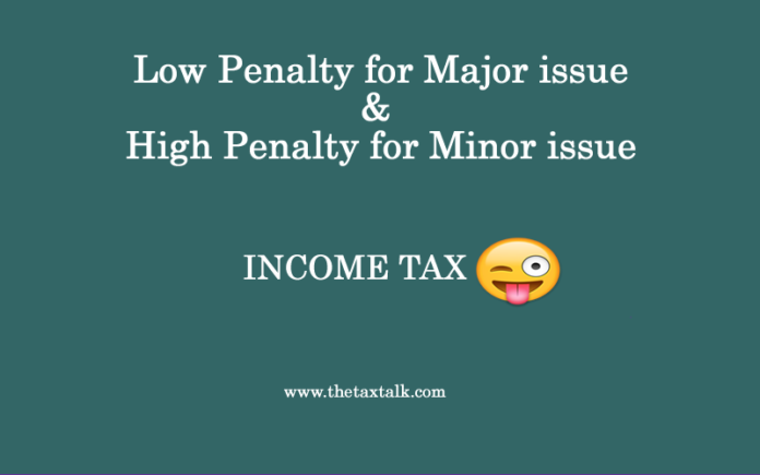 Income Tax: Low Penalty for major issue!High Penalty for minor issue !