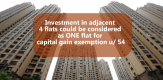 Investment in adjacent 4 flats could be considered as ONE flat