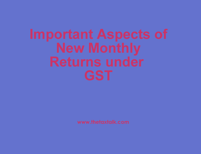 Important Aspects of New Monthly Returns under GST