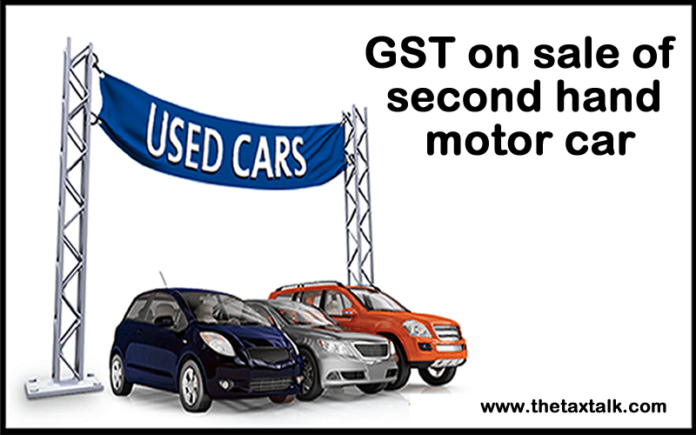 GST on sale of second hand motor car