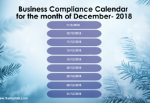 Business Compliance Calendar for the month of December- 2018