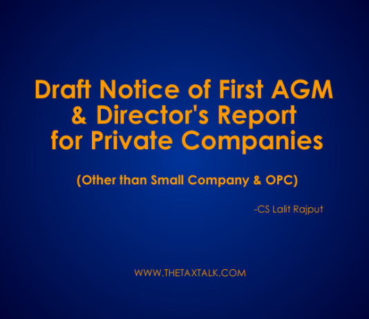 Draft Notice of First AGM & Director's Report for Private Companies (Other than Small Company & OPC)