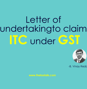 Letter of undertaking to claim ITC under GST