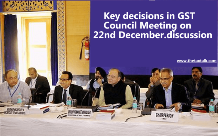 Key decisions in GST Council Meeting on 22nd December.discussion