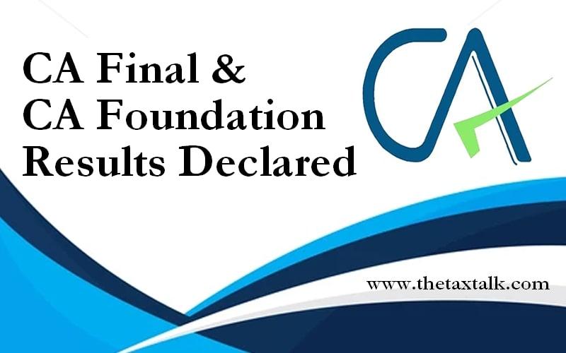 CA Final & CA Foundation Results Declared