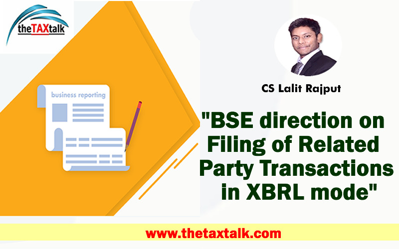 """""""BSE direction on Filing of Related Party Transactions in XBRL mode"""""""